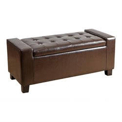 Abbyson Living Sawyer Leather Storage Ottoman in Dark Brown