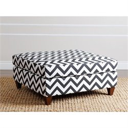 Abbyson Living Kai Square Ottoman in Chevron Black