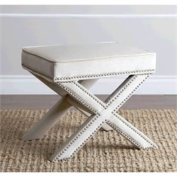Abbyson Living Arc Microsuede Nailhead Trim Ottoman in Cream