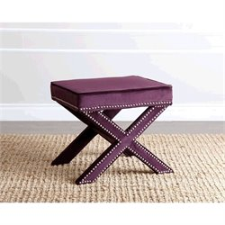 Abbyson Living Arc Microsuede Nailhead Trim Ottoman in Purple