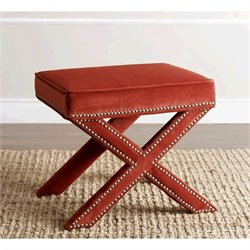 Abbyson Living Arc Microsuede Nailhead Trim Ottoman in Sangria Orange
