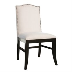 Abbyson Living Royal Linen Nailhead trim Dining Chair in Ivory