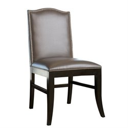 Abbyson Living Royal Leather Nailhead trim Dining Chair in Gray
