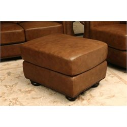 Abbyson Living Erickson Leather Ottoman in Camel Brown
