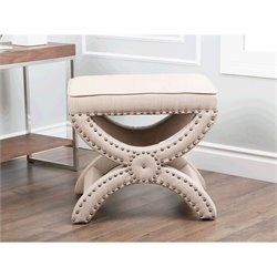 Abbyson Living Avenue Fabric Nailhead Trim Ottoman in Beige