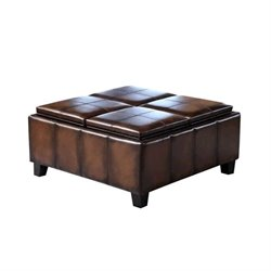 Abbyson Living Trapani Faux Leather Square Ottoman in Two Tone Brown