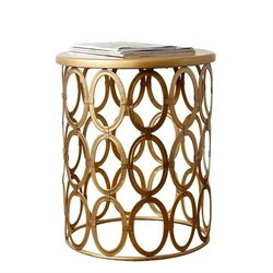 Abbyson Living Coronado Metal Round End Table in Gold