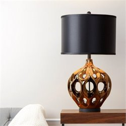Abbyson Living Sofia Ceramic Table Lamp in Bronze