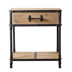 Abbyson Living Bixel Industrial End Table in Beige