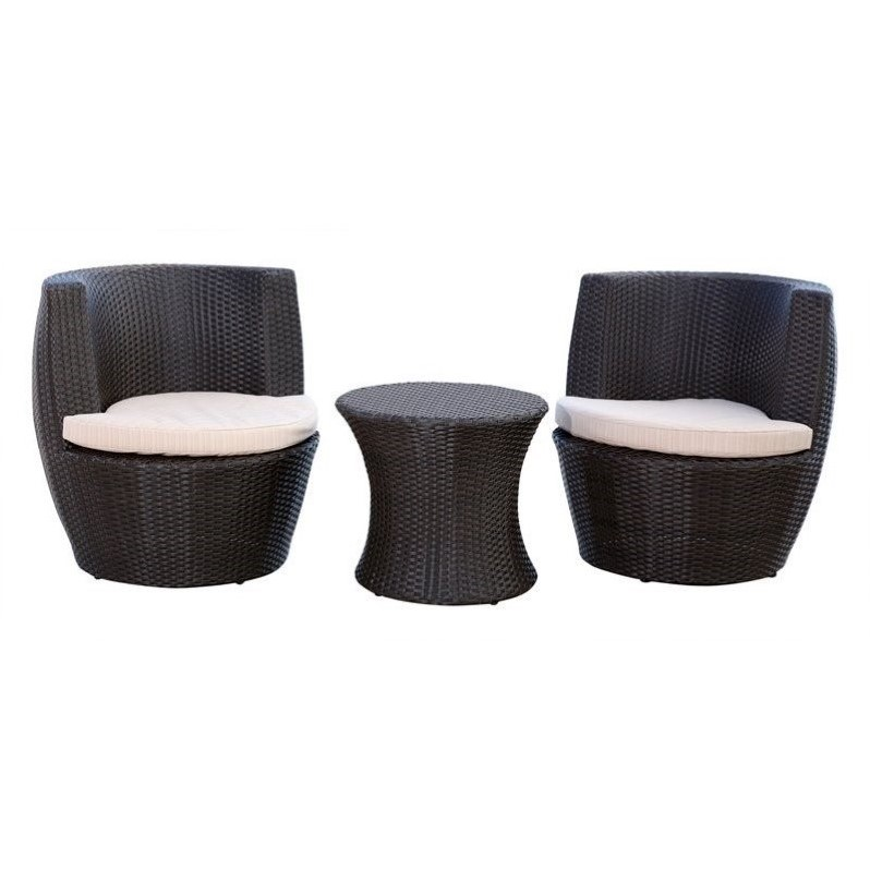 Abbyson Living Carlsbad Outdoor Wicker 3 Piece Chair Set