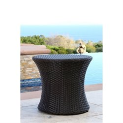 Abbyson Living Carlsbad Outdoor Wicker End Table in Espresso Brown