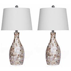 Abbyson Living Table Lamp in Mother of Pearl (Set of 2)