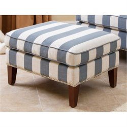 Abbyson Living Chelsie Fabric Ottoman in Blue and Ivory