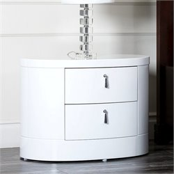Abbyson Living Euro 2 Drawer Wood Oval Nightstand in High Gloss White