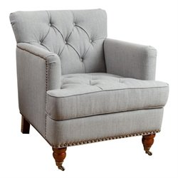 Abbyson Living Matta Nailhead Linen Club Chair in Gray