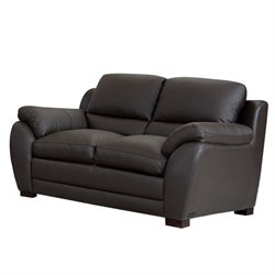 Abbyson Living Livington Leather Loveseat in Espresso