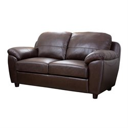 Abbyson Living Bella Leather Loveseat in Brown
