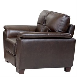 Abbyson Living Timston Leather Arm Chair in Brown
