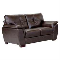 Abbyson Living Timston Leather Loveseat in Brown