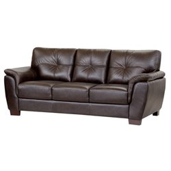 Abbyson Living Timston Leather Sofa in Brown
