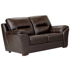 Abbyson Living Campton Leather Loveseat in Espresso