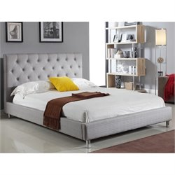Abbyson Living Newton Tufted Linen Bed in Gray