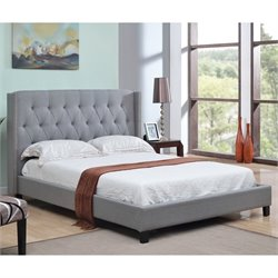 Abbyson Living Maybek Wingback Linen Bed in Gray