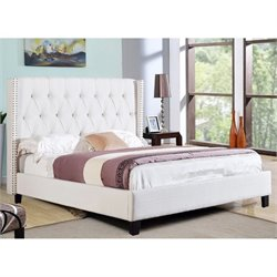 Abbyson Living Maybek Wingback Linen Bed in Ivory
