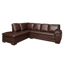 Abbyson Living Parker Leather Left Facing Sectional in Brown