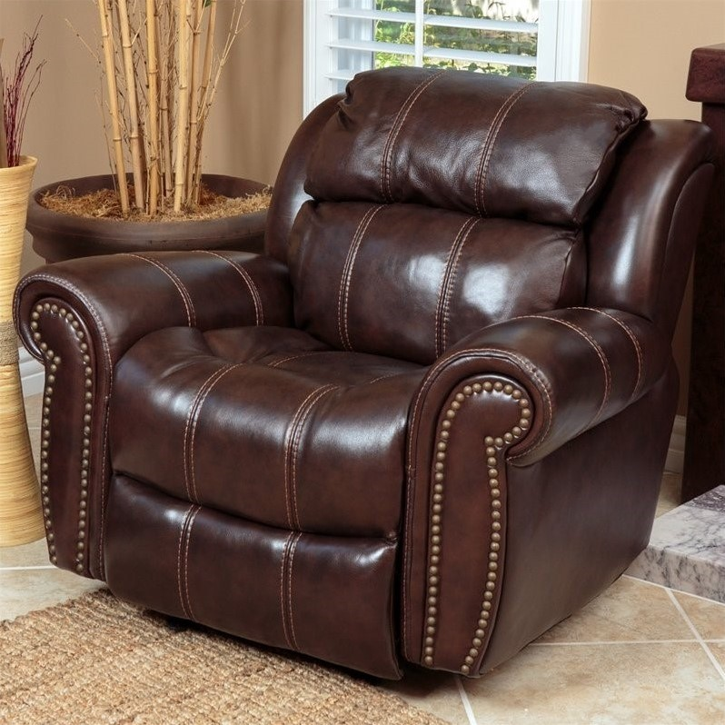 Abbyson living kingston leather power recliner in brown for Abbyson living sedona leather chaise recliner