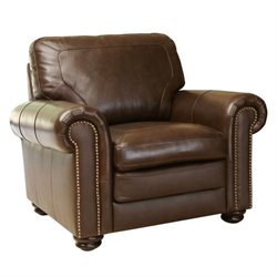 Abbyson Living Bronston Leather Arm Chair in Brown