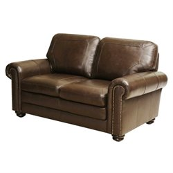 Abbyson Living Bronston Leather Loveseat in Brown