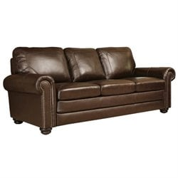 Abbyson Living Bronston Leather Sofa in Brown