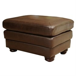 Abbyson Living Bronston Leather Ottoman in Brown