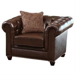 Abbyson Living Alexandra Leather Arm Chair in Brown