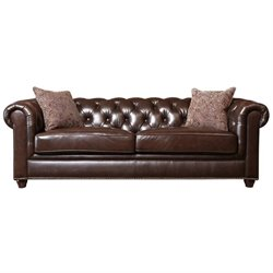Abbyson Living Alexandra Leather Sofa in Brown