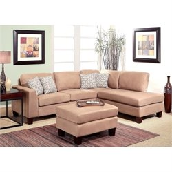 Abbyson Living Maia 3 Piece Fabric Sectional with Ottoman in Beige