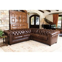 Abbyson Living Hamilton 3 Piece Leather Sectional in Chestnut Brown