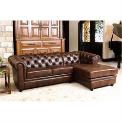 Abbyson Living Hamilton 2 Piece Leather Sectional in Chestnut Brown