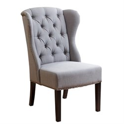 Abbyson Living Tesla Linen Dining Chair in Green Gray