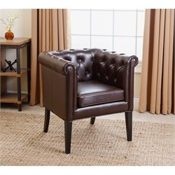 Abbyson Living Phoebe Leather Dining Chair in Dark Brown