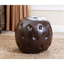 Abbyson Living Winslow Leather Tufted Ottoman