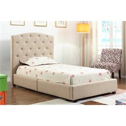Abbyson Living Harlow Twin Upholstered Bed in Beige