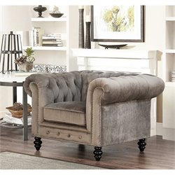 Abbyson Living Velvet Accent Chair in Gray