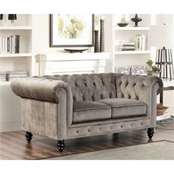 Abbyson Living Velvet Loveseat in Gray