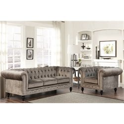 Abbyson Living 2 Piece Velvet Sofa Set in Gray