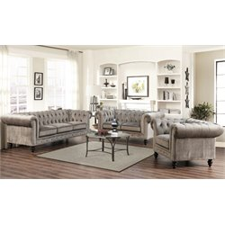 Abbyson Living 3 Piece Velvet Sofa Set in Gray