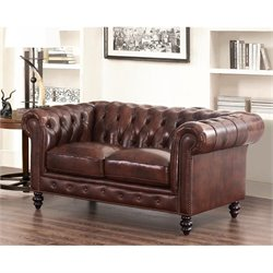 Abbyson Living Leather Loveseat in Brown