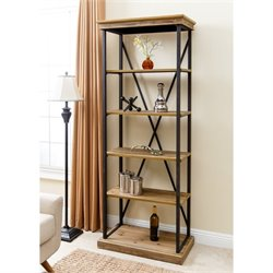 Abbyson Living Industrial 5 Shelf Bookcase in Natural