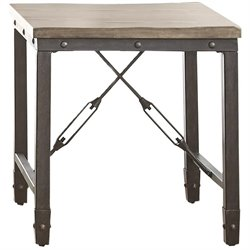 Steve Silver Jersey Industrial Square End Table in Antique Tobacco